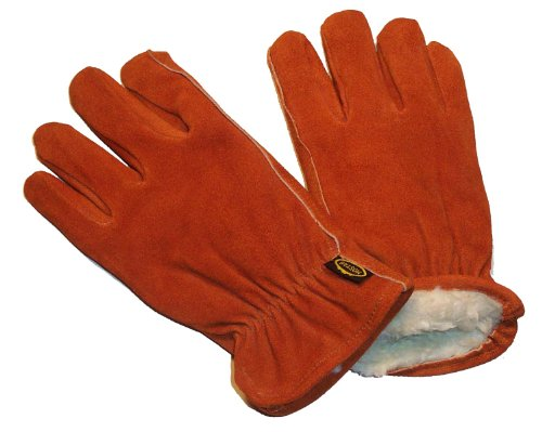 G & F 6454XL-3 Suede Cowhide Leather Winter Work Gloves, Drivers Gloves with Pile Lining, 3-Pair, XLarge