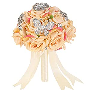 Bridal Wedding Bouquet with Rhinestone Brooch Artificial Satin Silk Roses Handmade Bride Bouquets Bridesmaid Holding Flower Bling 30