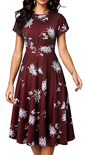 HOMEYEE Women's Short Sleeve Floral Casual Aline Midi Dress A102 (6, Dark Red)