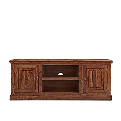 Riddhi Siddhi Home Decor Sheesham Wood Entertainment TV Unit for Living Room with Doors | Walnut Finish