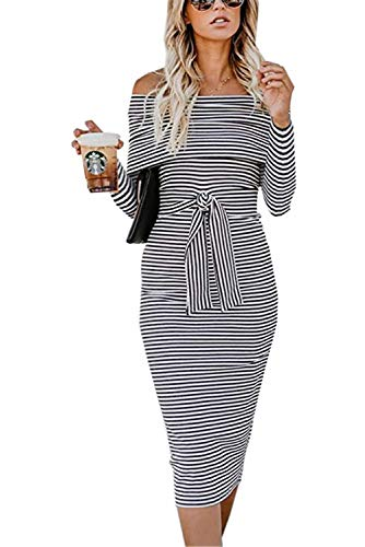 ALAIX Women's Sexy Off Shoulder Long Sleeve Bodycon Midi Knit Cocktail Evening Sweater Dress with Belt ()
