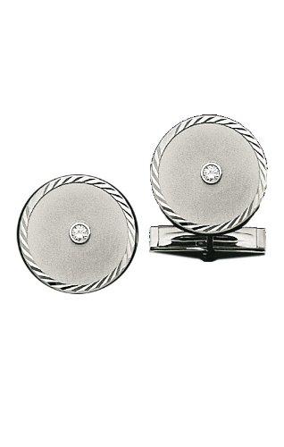 14K White Gold Circle Cufflinks with Swirl Border-86248 14k Gold Circle Cufflinks