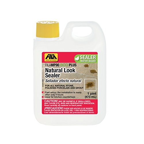 FILA Natural Stone Sealer MP90 Eco Plus 1 Pint, Natural Look Sealer and Stain Protector, ideal for All Natural Stone, Polished Porcelain Tile and Grout, Eco-friendly Water Based