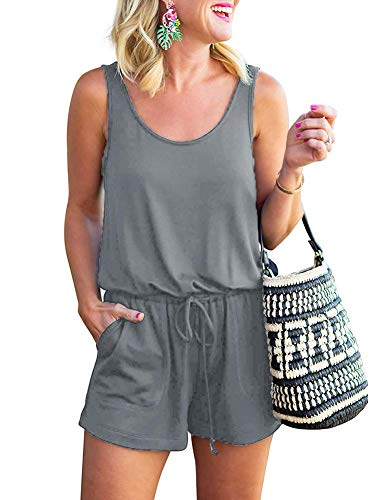 - Q-daily Womens Casual Summer One Piece Sleeveless Tank Top Playsuits Scoop Neck Loose Adjustable Waist Short Jumpsuit Rompers with Pockets Grey Large