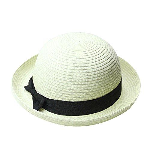 FUNOC Vintage Women Summer Sun Beach Cap Straw Bowler Hat Clothe Derby Style Hat