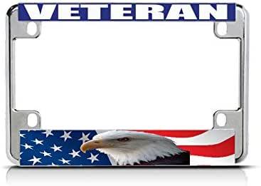 US NAVY VETERAN WHITE BLUE Chrome Metal Bike Motorcycle License Plate Frame Tag