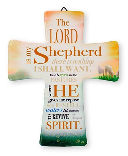 Catholic Gift Shop Ltd Porcelain Cross The Lord Is My Shepherd GIFT SET INCLUDES A LOURDES PRAYER CARD
