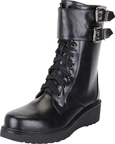 Cambridge Select Women's Monk Strap Buckle Lace-Up Platform Combat Boot,9 B(M) US,Black PU
