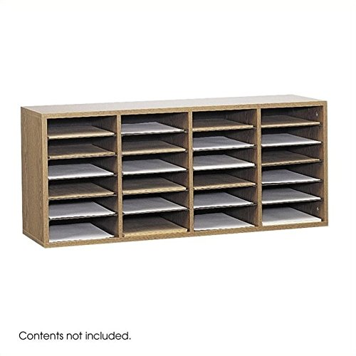 Scranton & Co Medium Oak 24 Compartment Wood Adjustable File Organizer