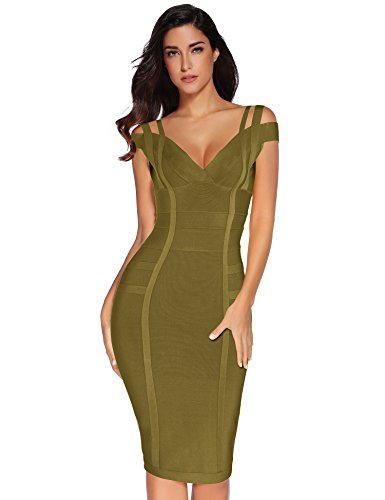 Meilun Women's Off Shoulder V Neck Bandage Clubwear Party Bodycon Dress (L, Olive)