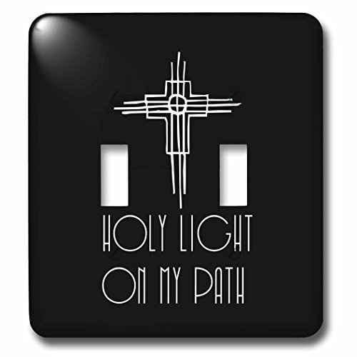3dRose Alexis Design - Christian - Decorative cross, the text Holy Light on my path on black - Light Switch Covers - double toggle switch (lsp_286188_2) by 3dRose