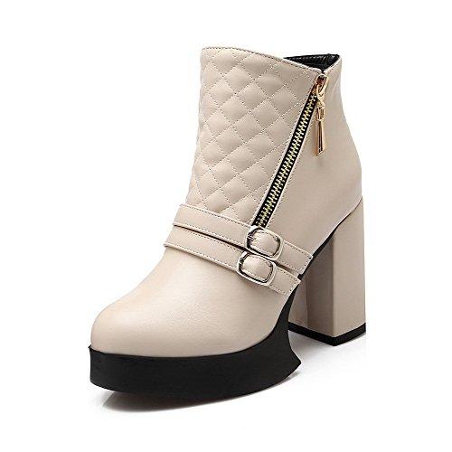 AllhqFashion Damen Hoher Absatz Rein Rund Zehe Blend-Materialien Reißverschluss Stiefel Cremefarben