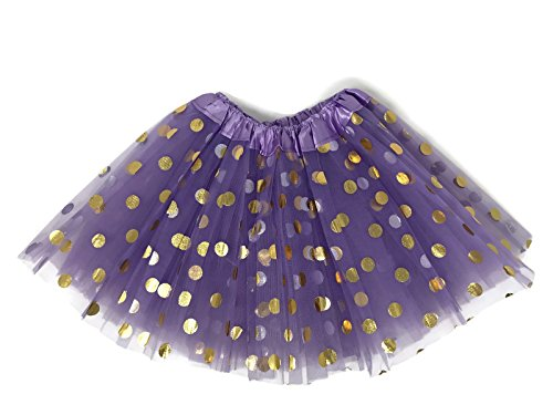 Dress Glitter Dot (Rush Dance Ballerina Girls Dress-Up Princess Fairy Polka Dots & Ribbon Tutu (Kids (3-6 Years Old), Lavender & Gold))