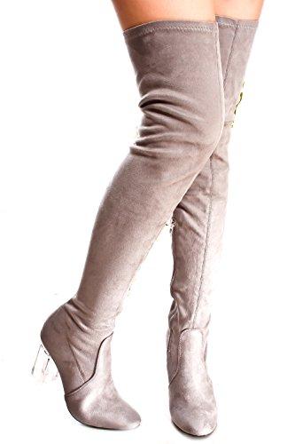 Lolli Couture Forever Link In Ecopelle Lacci Lunghi Da Combattimento Con Stivali Alti Al Ginocchio Sul Tallone Grigio-cameron-2
