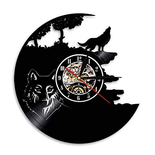 LED Wall Lights, Night Light, Wall Lamp, Wolf Vinyl Record Wall Lamp Creative Classic Home Decor Musical Handmade CD Led Time Clock With Color Changing Led Light ()
