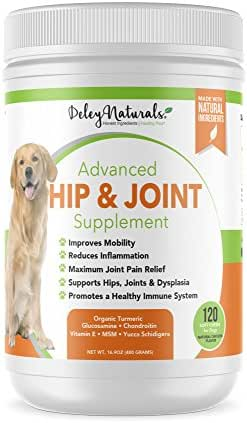 Glucosamine for Dogs - Advanced Arthritis Pain Relief for Dogs - Chondroitin, MSM & Organic Turmeric - Natural Hip & Joint Supplement for Dogs - Made in USA, Chicken - 120 Grain Free Soft Chews