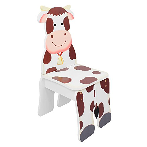 Fantasy Fields - Happy Farm Animals Thematic Kids Wooden Cow Chair | Imagination Inspiring Hand Crafted & Hand Painted Details | Non-Toxic, Lead Free Water-based Paint