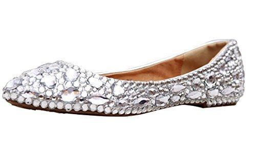Minitoo MZLL030 Women's Fashion Comfortable Handmade Rhinestone Silver Satin Wedding Party Evening Prom Flats 8 M US