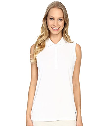 (Nike Women's Victory Solid Sleeveless Polo, White/Black,)