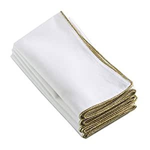 """Classic Ivory White Cloth Napkins with Shimmering Gold Border Trim (Set of 4), 20"""" Square"""