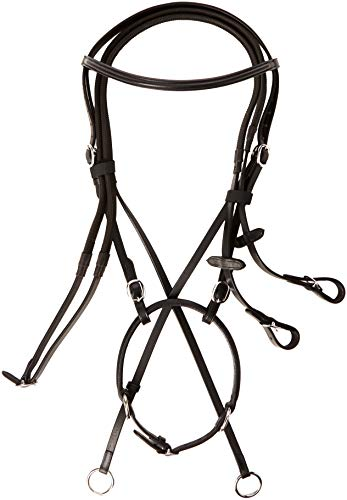 Cwell Equine New Cross Over Bitless Leather Bridle with Web Grip reins Black F/C/P (Full)...