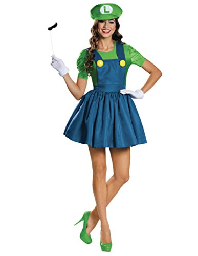 Luigi Adult Costumes Hat And Mustache (Disguise Women's Luigi Skirt Version Adult Costume, Green/Blue, Small)