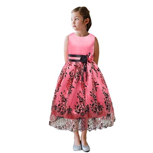 Lihaer Filles Sans Manches Robes De Mariée De Robe De Soirée De Princesse Élégante Formelle Robe De Mode Pour Enfants Rose