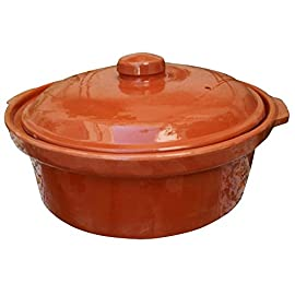 "Casserole Dish,Glazed Natural Cooker/Roaster, Turkey Large Size Cooking Tureen, Clay Covered Casserole for Slow Cooking (14"", Clay Casserole Dish) 70 Cook Chicken, Meat, Seafood or Vegeterian food Handcraft Authentic Casserole, for Cooktop or Oven, Made in Tunisia Cooking in clay greatly enhances the flavor and preserves more of the nutritional value of cooked foods."