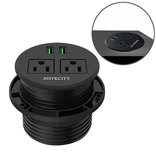 Recessed Desktop Power Grommet with 2 Plugs & 2 USB Charging Ports.Hidden Power Socket for Desk Table Durable Plastic Top,with 6.5Ft Extension Cord for Office Home Hotel Computer