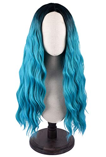 SEIKEA Long Hair Wig for Women Soft Teal Ombre Parting in Middle Dark Root -