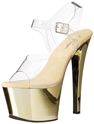 Pleasersky308 gold Transparente Mujer Sandalias Chrome c clr hpch ROqwrPHR