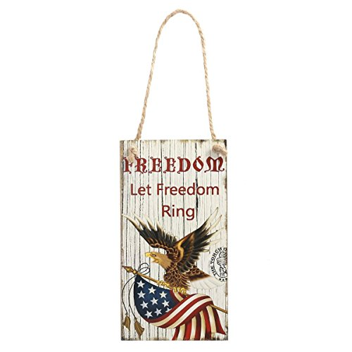 BinaryABC 4th of July Wooden Hanging Sign, Independence Day Party Decorations,Freedom Let Freedom -