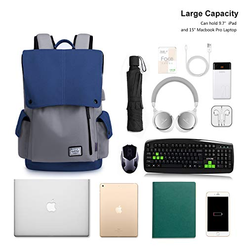 WindTook Laptop Backpack for Women and Men Travel Computer Bag School College Daypack with USB Charging Port Suits 15 Inch Notebook -Blue