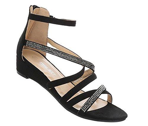 Schuhcity24 Damen Schuhe Sandaletten Keil Wedges Pumps Schwarz