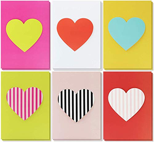 Best Paper Greetings 12-Pack Unique Handmade Heart Greeting Cards for Valentines Day and Anniversary, 6 Designs, Envelopes Included, 5 x 7 Inches (Greeting Cards For Valentine)