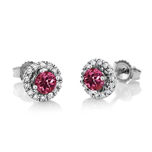 Diamonds Gold 18k Loose White - Gem Stone King 18K White Gold Diamond Halo Earrings set with 0.68 cttw Round Pink Tourmaline