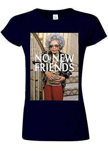 論理的水平集中的なNo New Friends Funny Novelty Navy Women T Shirt Top-S