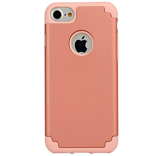 iPhone 6/6s Plus Case, iBarbe 2 in 1 Hybrid Heavy Duty Soft Rubber PC Shockproof Protective cover Case with Dual Layer Scratch Resistant Bumper for Apple iPhone 6 6s Plus (5.5 inch) phone-Rosegold