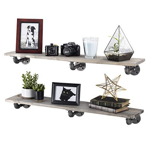 Rustic Industrial Pipe Brackets Floating Shelves by Pipe Decor, Distressed Aged Wood Paired with Iron Pipes Bracket, Wall Mounted Hanging Shelf, Reclaimed and Barn Wood Inspired, 36 Inch Grey 2 Pack ()