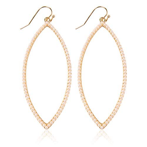 Sparkly Simple Lightweight Geometric Open Hoop Drop Earrings - Cut-Out Dangles Teardrop/Pear/Pointy Oval/Marquise/Circle Cubic Zirconia Crystal/Multi Rhinestone/Acrylic (Pointy Leaf - Gold Pearl)