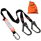KSEIBI 422006 Single Leg Snap Hook and Two Scaffolding Hook w 6-Foot Internal Shock Lanyard Fall Protection Equipment for Safety Harness