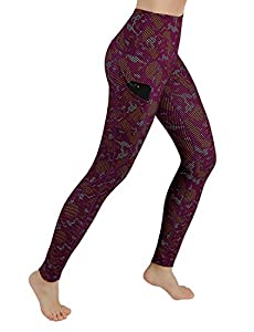 ODODOS High Waist Out Pocket Printed Yoga Capris Pants Tummy Control Workout Running 4 Way Stretch Yoga Capris Leggings