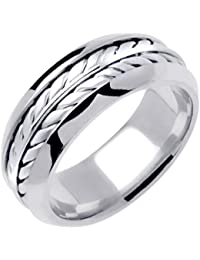 14k white solid gold hand braided wedding ring band for men sizes 9 14 - Wedding Rings Men