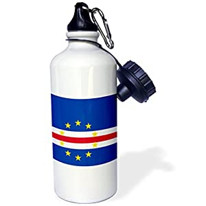 """3dRose wb_158277_1 """"Flag of Cape Verde island country-Cape Verdean dark navy blue red white with 10 yellow stars"""" Sports Water Bottle, 21 oz, White"""