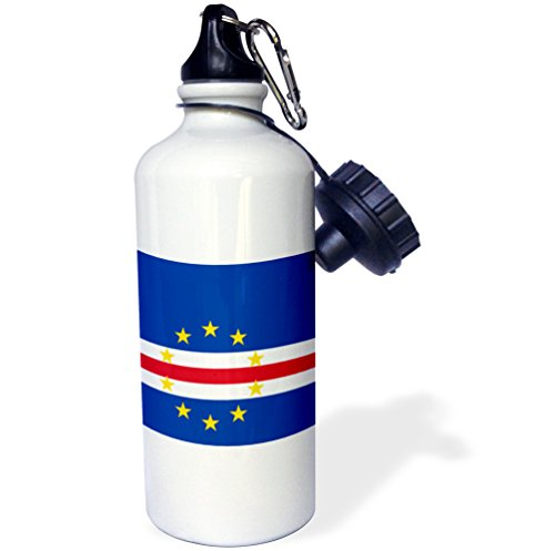 "3dRose wb_158277_1 ""Flag of Cape Verde island country-Cape Verdean dark navy blue red white with 10 yellow stars"" Sports Water Bottle, 21 oz, White"
