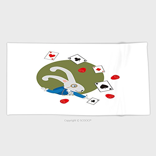 27.5W x 11.8L Inches Custom Cotton Microfiber Ultra Soft Hand Towel White Rabbit From Alice In Wonderland Pops Out Of Burrows And Holds A Playing Card 465815963 - Chippendales Playing Cards