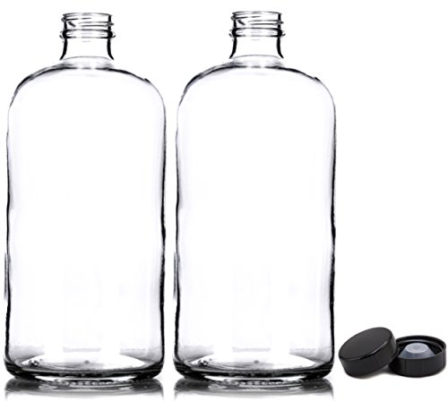 Bottle Of Gin - 2 Pack ~ 32oz Growler ~ Clear Glass with PolyCone Phenolic Lid for a Tight Seal - Perfect for Secondary Fermentation and Storing Kombucha