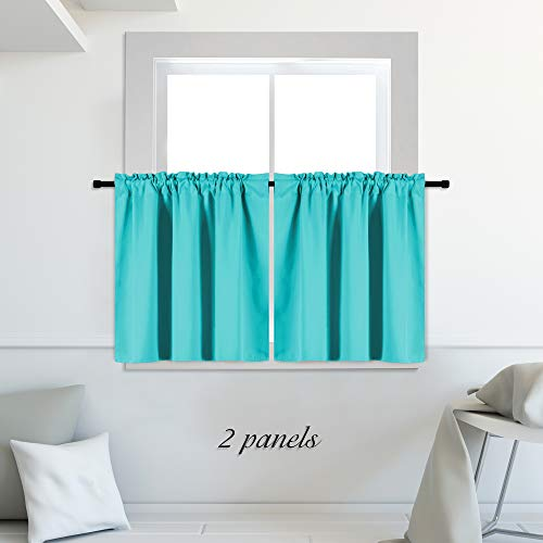 DONREN 42 x 30 Inches Long Small Curtains for Loft - Blackout Thermal Insulated Rod Pocket Curtain Panels (Turquoise,2 Panels)