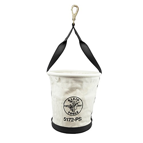 Heavy-Duty Tapered-Wall Bucket with 15 Inside Pockets, No. 4 Canvas Klein Tools 5172PS ()