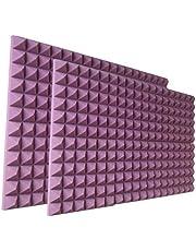 Paneles acústicos de espuma de estudio de 12 x 12 x 2 pulgadas, paneles de reducción de sonido de espuma insonorizada, color morado
